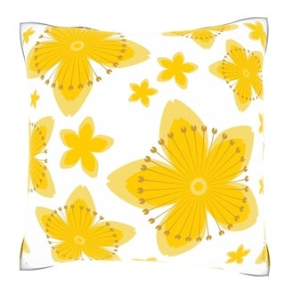 Yellow Flower Petals 18-inch Velour Throw Pillow