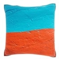Blue and Orange Wall 18-inch Velour Throw Pillow