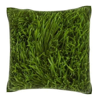 Green Grass Blades Cloth 18-inch Velour Throw Pillow