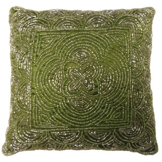 Celebration Scallop Design Green Beaded Decorative Pillows (Set of 2)