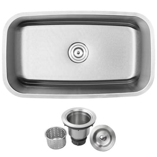 Ticor 32-inch Stainless Steel 16-gauge Undermount Single Bowl Kitchen Sink