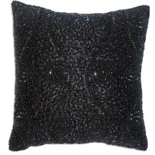 Celebration Swirl Black Beaded Decorative Pillows (Set of 2)