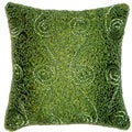 Celebration Swirl Green Beaded Decorative Pillows (Set of 2)
