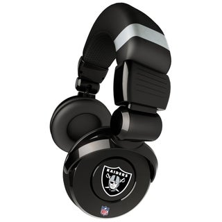 iHip Official NFL Oakland Raiders Noise Isolation Pro DJ Microphone Headphone