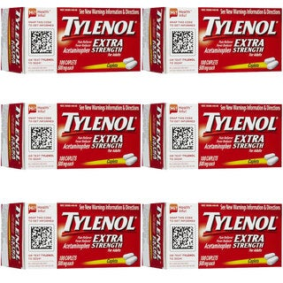Tylenol Extra Strength 100-Caplet Pain Reliever (Pack of 6)