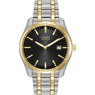 Citizen Men's Eco-Drive Two-tone Stainless Steel Black Dial Watch