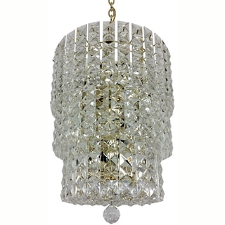 Prismatic Gem 12-light 3-tier Polished Brass Chandelier