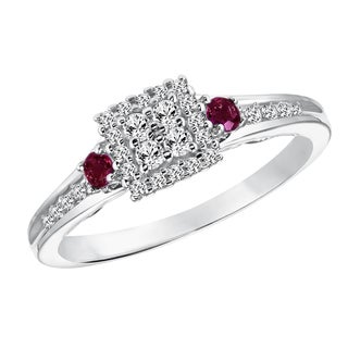 Cambridge Sterling Silver Diamond and Ruby Ring (I-J, I2-I3)