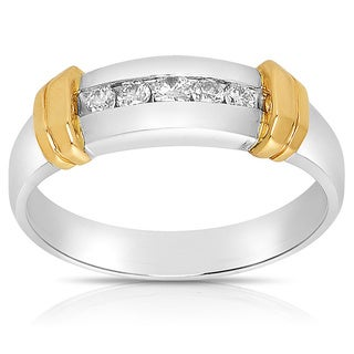 14k Two-tone Gold Men's 1/4ct TDW Diamond Wedding Band (J-K, I1-I2)