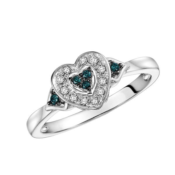 Cambridge Sterling Silver 1/8ct Blue and White Diamond Heart Shaped Ring (I-J, I2-I3)