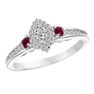 Cambridge Sterling Silver 1/4ct TDW Diamond and Ruby Marquise Shape Ring (I-J, I2-I3)