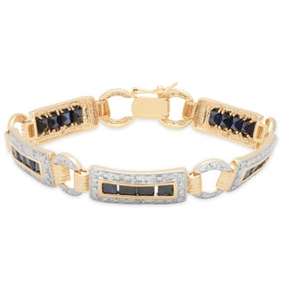 Dolce Giavonna Sterling Silver Sapphire and Diamond Accent Link Bracelet (I-J, I2-I3)