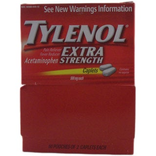 Tylenol Extra Strength Pain Reliever 2-caplet Pouches (Pack of 50)