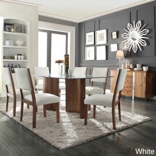 'Inspire Q' Tama Walnut Wave Base Faux Leather Upholstered 7-piece Dining set