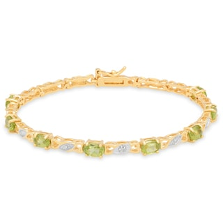 Dolce Giavonna Sterling Silver Peridot and Diamond Accent Bracelet