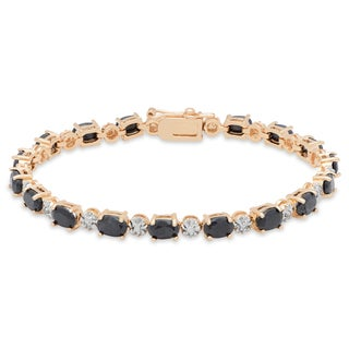 Dolce Giavonna Sterling Silver Sapphire and Diamond Accent Link Bracelet
