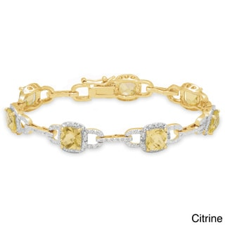 Dolce Giavonna Sterling Silver Gemstone and Diamond Accent Link Bracelet
