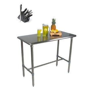 John Boos BBSS4824-40 Cucina Americana Classico Table 48x24x40 with Henckels 13 Piece Knife Block Set