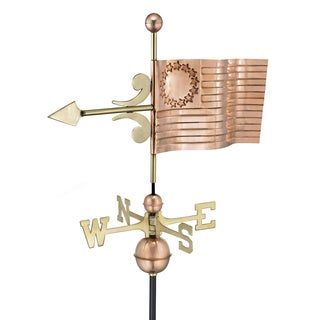 Good Directions US Flag Polished Copper Weathervane