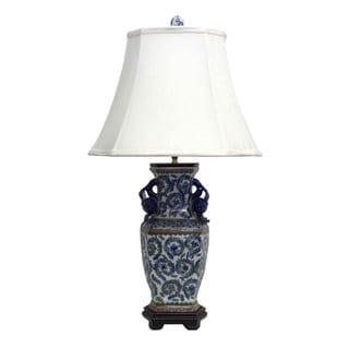 1-light Hexagonal Green Vine Swirls Porcelain Table Lamp