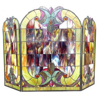 Tiffany-style Halston Glass Fireplace Screen