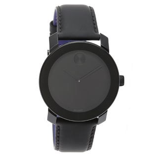 Movado Bold Large Black 3600005 Leather Strap Watch