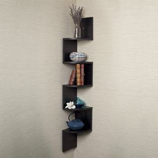 Black Laminate Large Corner Wall Mount Shelf