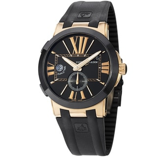 Ulysse Nardin Men's 'Gmt DualTime' Black Dial Rose Gold Rubber Strap Watch 246-003/42