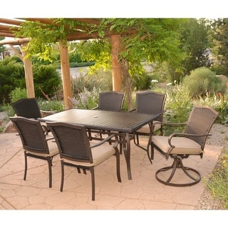 7-Piece Aluminum Rattan Outdoor Dining Set with Cushions