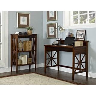 Haney Cherry Folding Desk and Bookcase Set
