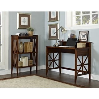 Haney Cherry Folding Desk and Bookcase Set