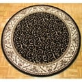 Amalfi Black/ Ivory Scroll Round Area Rug (8')