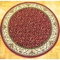 Amalfi Red Scroll Oriental Area Rug (8' Round)