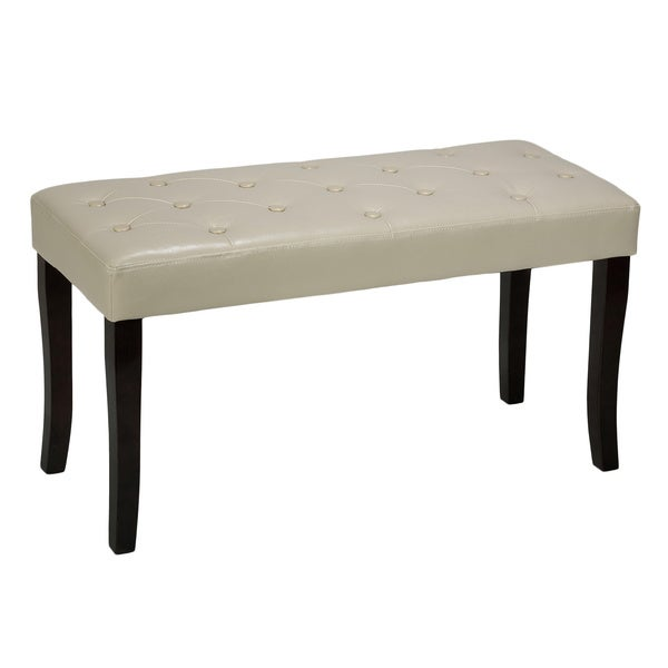 Cortesi Home Johann Cream Faux Leather Piano Bench Ottoman
