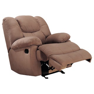 Beige Padded Microfiber Rocker Recliner Chair