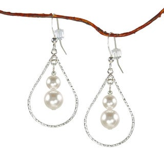 Jewelry by Dawn Sterling Silver White Faux Pearl Textured Teardrop Earrings