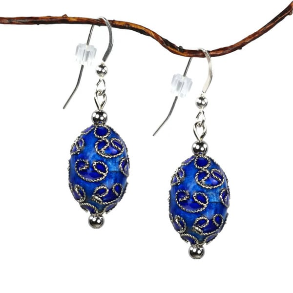 Jewelry by Dawn Blue Oval Cloisonn Enamel Dangle Earrings