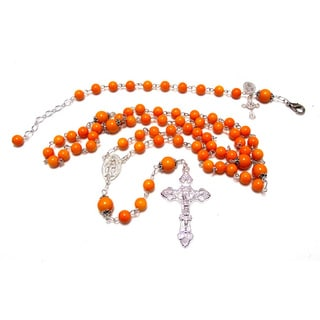 Pumpkin Orange Beaded Glass Rosary and Bracelet Set
