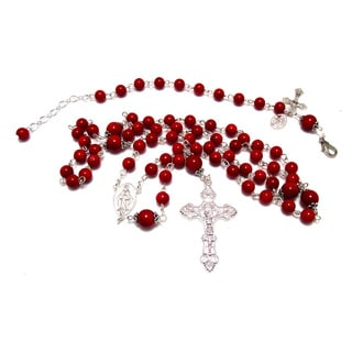 Red Glass Beaded Rosary Necklace and Bracelet Set