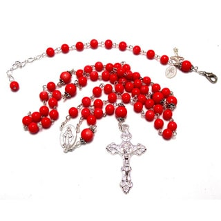 Coral Red Glass Bead Rosary Necklace and Bracelet Set