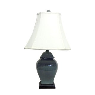 1-light Dark Teal Temple Jar Porcelain Table Lamp