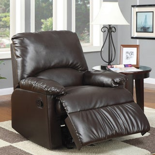 Brown Split-back Vinyl Upholstered Glider Recliner