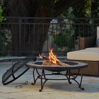 Sirio Vorterio Bronze Finish Slate Top 34-inch Fire Pit