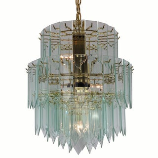 9-light Polished Brass/ Glass Contemporary Chandelier