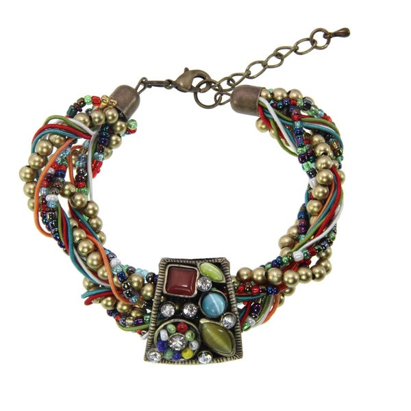 Handmade Multi-strand Colorful Cat's Eye Stone Bracelet (China)