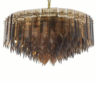 7-light Polished Brass/ Amber Glass Contemporary Chandelier