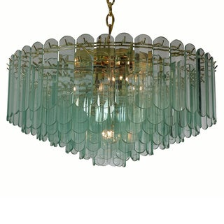 7-light Polished Brass/ Rounded Spear Glass Contemporary Chandelier
