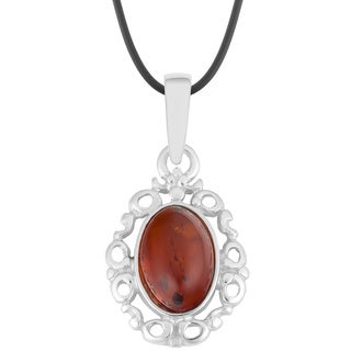Sterling Silver Ornamental Oval Amber Necklace (Poland)