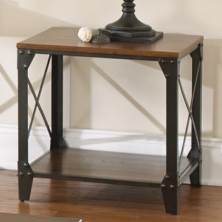 Windham Square Solid Wood/ Iron End Table