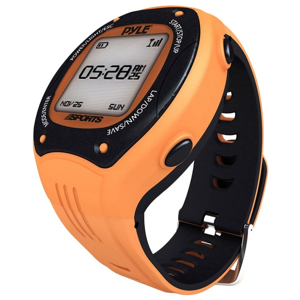 Pyle Sports Digital LED ANT+ E-compass GPS Navigation Orange Sports Training Watch